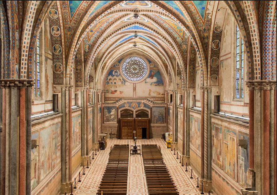 La nuova illuminazione dell basilica d'Assisi
